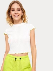 Contrast Binding Ribbed Crop Tee