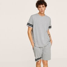 Men Heather Knit Striped Tee & Sweat Shorts Pj Set