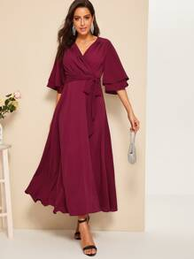 Layered Bell Sleeve Surplice Wrap Belted Dress