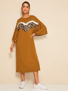 Bell Sleeve Leopard Print Hijab Dress