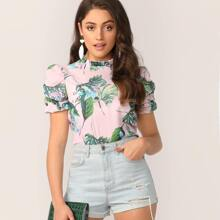 Frill Mock Neck Puff Sleeve Tropical Print Blouse