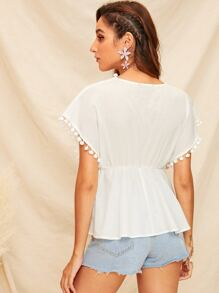 f9b90b0f25 Plunging Neck Pompom Detail Lace Insert Top | SHEIN