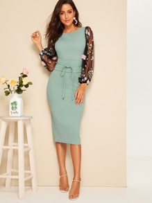 3D Appliques Mesh Sleeve Corset Belted Pencil Dress