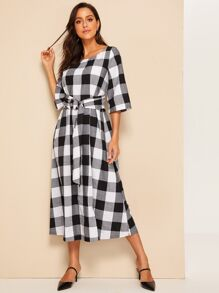 Self O-ring Belted Plaid Dress