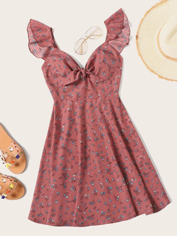 1b7b3a19d2 Ditsy Floral Knot Neck Ruffle Trim Dress | SHEIN
