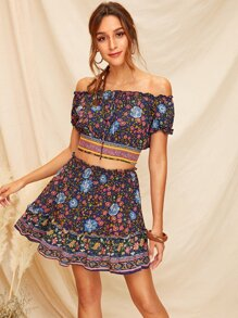 Off Shoulder  Ditsy Floral Shirred Crop Top & Skirt Set
