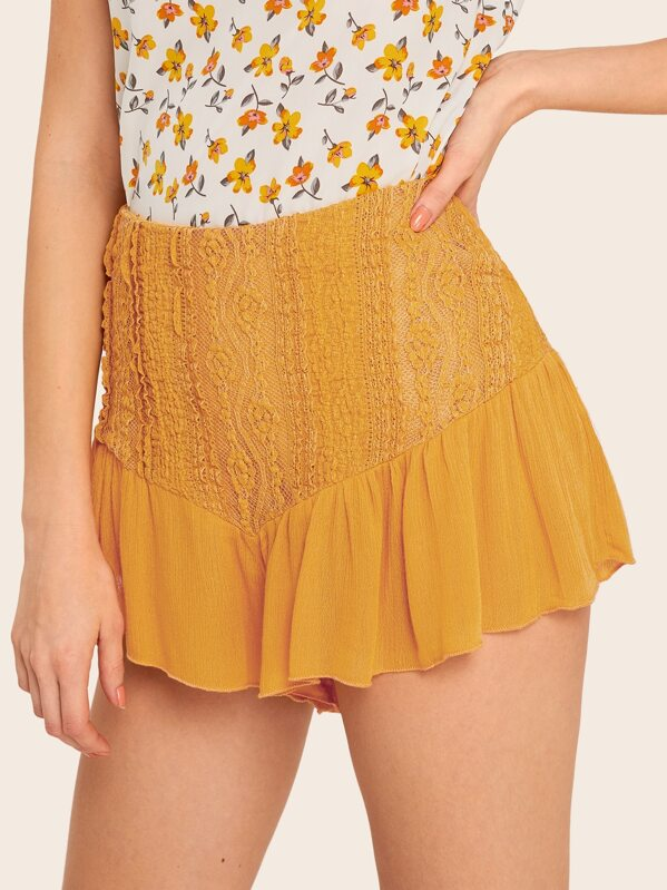 35d602257d Lace Overlay Ruffle Hem Crinkle Shorts | SHEIN