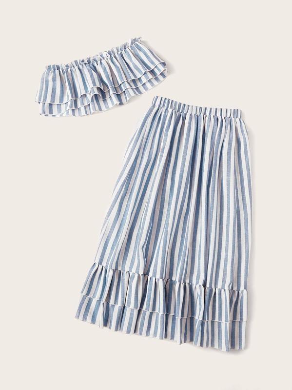 0bef97c3e Conjunto de niñas top tubo de rayas fruncido a capas con falda ...