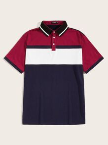 Men Cut-and-Sew Striped Collar Polo Shirt