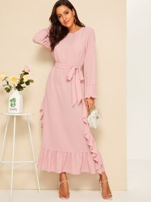 Ruffle Trim Pleated Cuff Belted Hijab Dress
