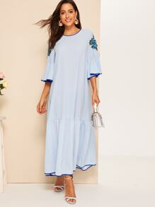 Embroidery Contrast Binding Maxi Dress