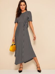 Curved Hem Striped Wrap Dress