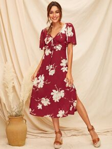 Floral Print Split Side Knot Dress