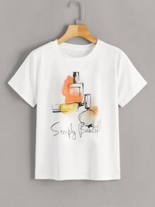 Perfume And Letter Print Tee