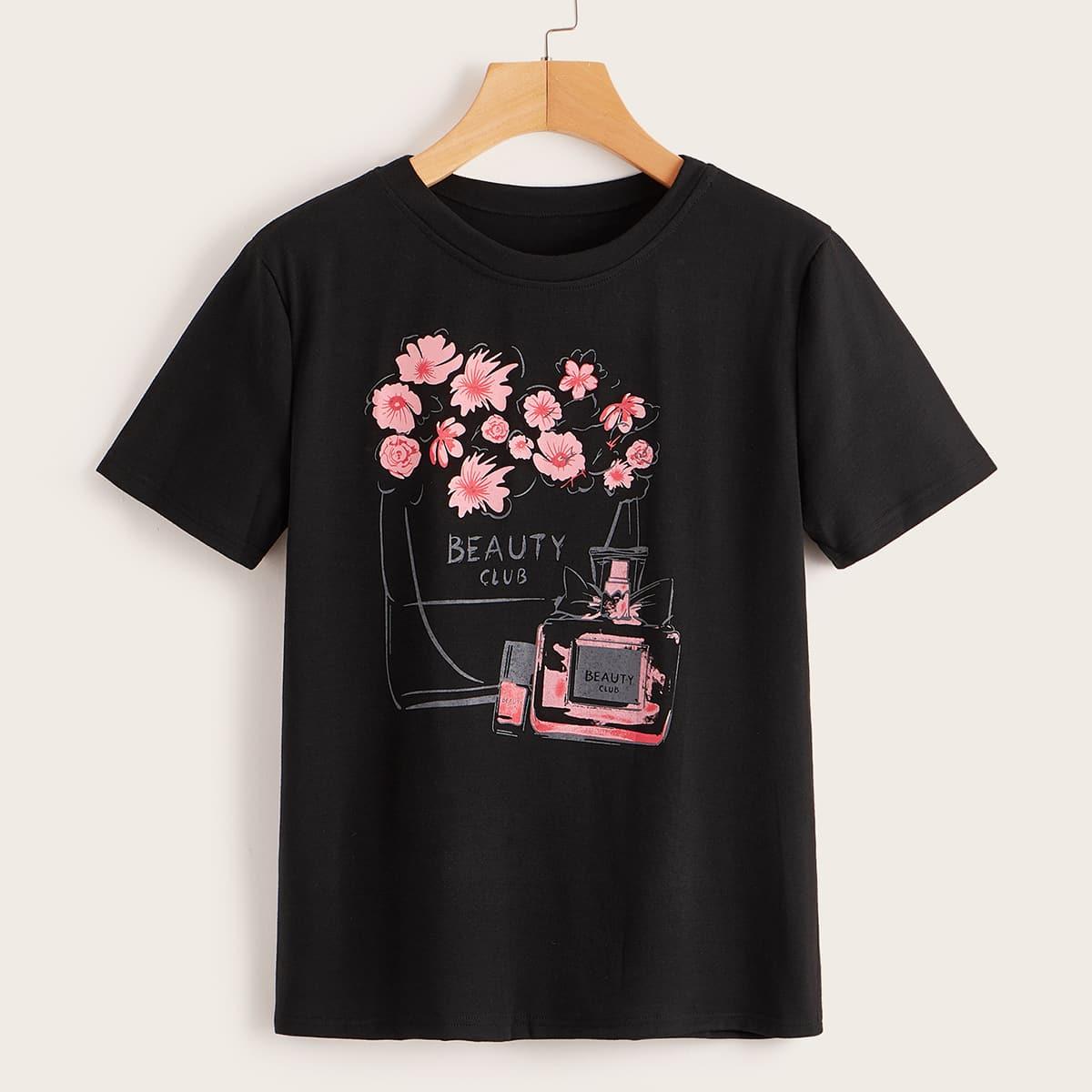 Zwart Casual Bloemen T-shirts