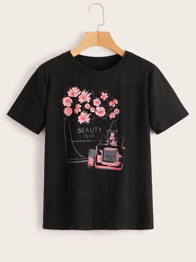 Perfume And Floral Print Tee