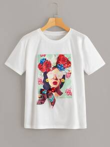 Figure & Floral Print Bow Detail Tee
