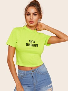 Letter Print Neon Lime Crop Tee