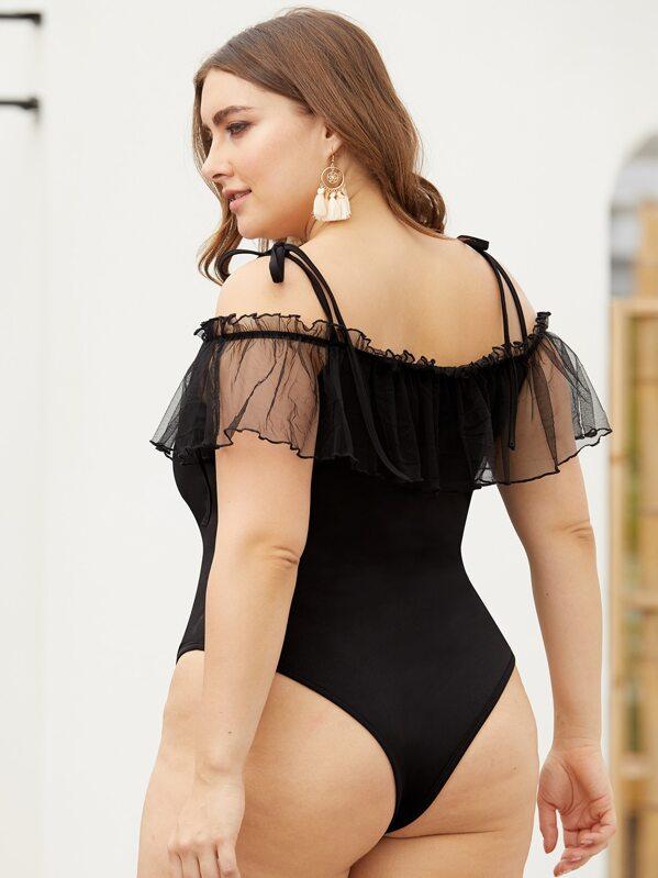 291774d666 Plus Mesh Panel Skinny Cami Bodysuit | SHEIN