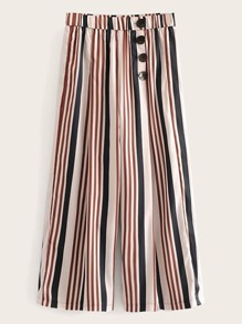 Button Detail Stripe Wide Leg Pants