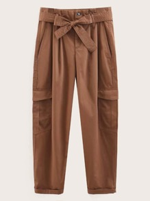 Self Tie Dual Pocket Solid Pants