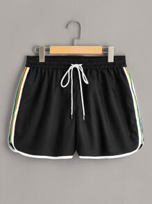 Plus Drawstring Waist Side Stripe Shorts