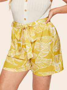 Plus Self Tie Leaf Print Shorts