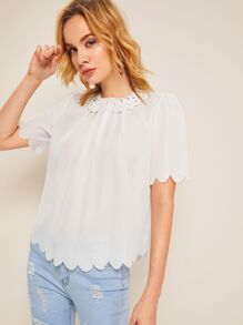 Laser Cut Scallop Hem Blouse