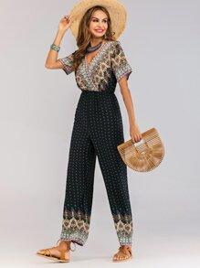 Wrap Folk-custom Print Jumpsuit