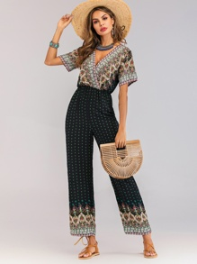 Surplice Folk-custom Print Jumpsuit