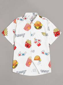 Guys Fast Food Print Shirt