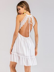 Contrast Lace Backless Cami Dress