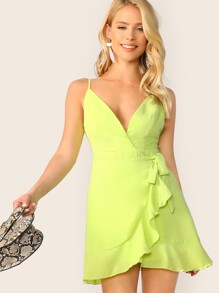 Neon Lime Tie Waist Surplice Wrap Cami Dress