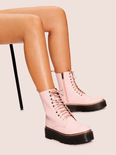 Lace-up & Side Zipper Boots
