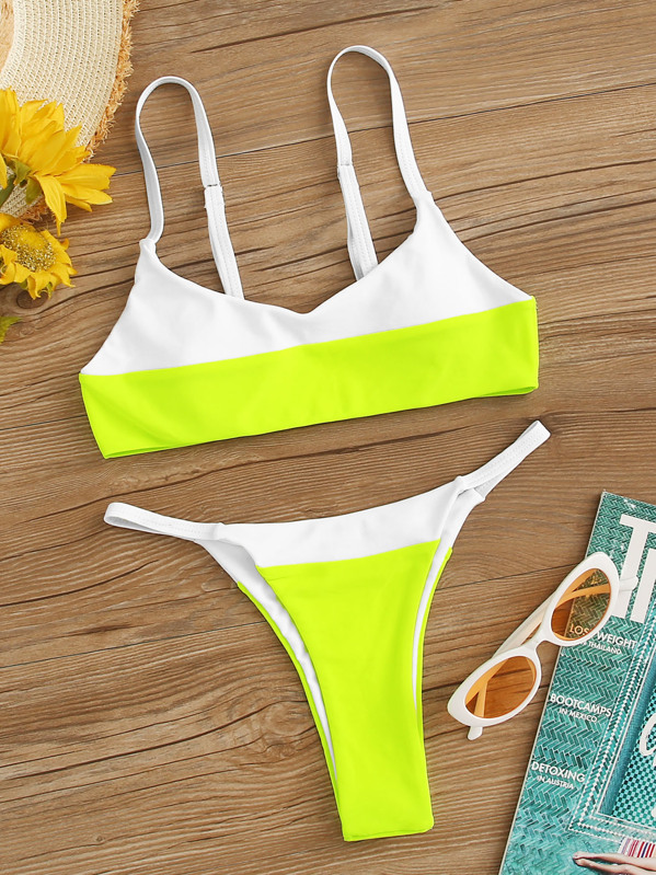 3a35159a8ed26 Neon Lime Color-block Top With Tanga Bikini Set   SHEIN