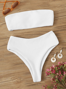 Textured Bandeau Top With High Waist  Bikini