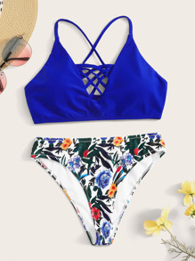 Lattice Top With Tropical Bikini Set