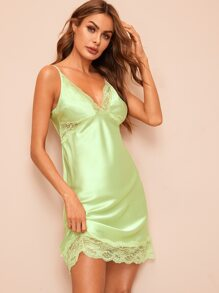Floral Lace Satin Nigh Dress