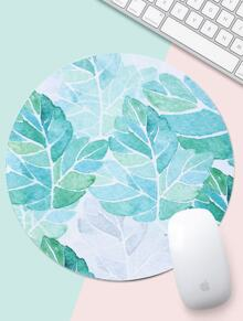 Leaf Print Round Mouse Pad