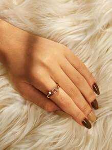 Heart Detail Double Layered Ring 1pc