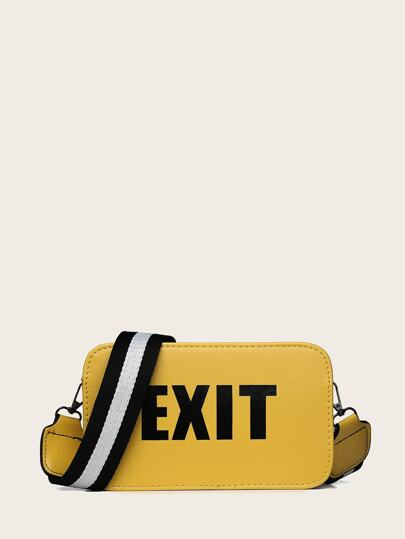 Slogan Detail Bag With Striped Strap