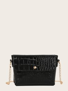 Croc Embossed Chain Bag