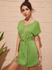 Solid Knot Front Dress