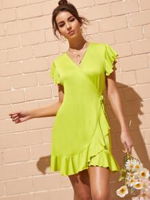 Neon Yellow Flounce Trim Wrap Dress