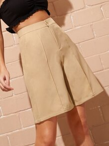 Solid Button Fly Wide Leg Shorts