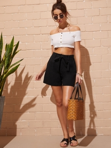 Self Tie Waist Wide Leg Shorts