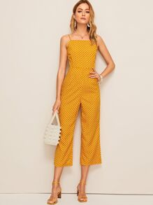 Polka Dot Print Tie Back Jumpsuit