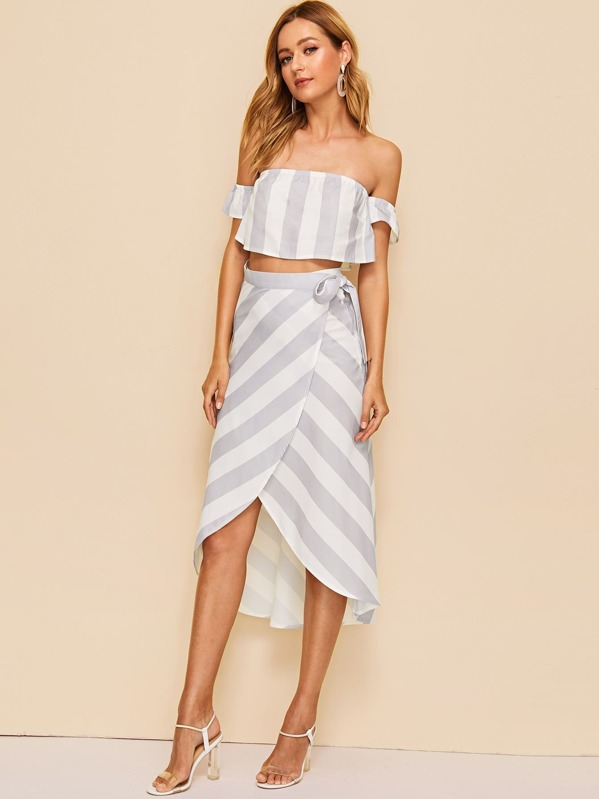 0364b447f15 Off Shoulder Striped Crop Top & Knotted Wrap Skirt Co-ord | SHEIN UK