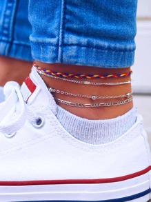 Woven & Chain Anklet Set 4pack