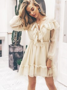 Simplee Plunging Neck Lantern Sleeve Ruffle Dress